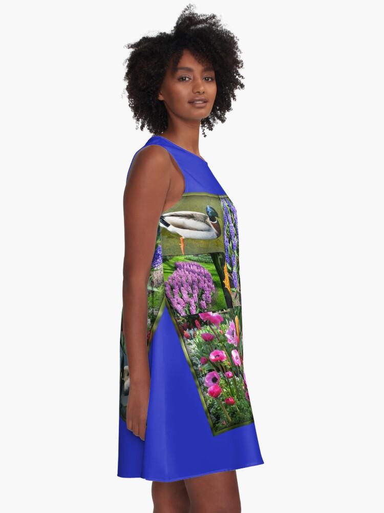 Alternative Ansicht von Flowers and Feathers - Keukenhof Collage A-Linien Kleid