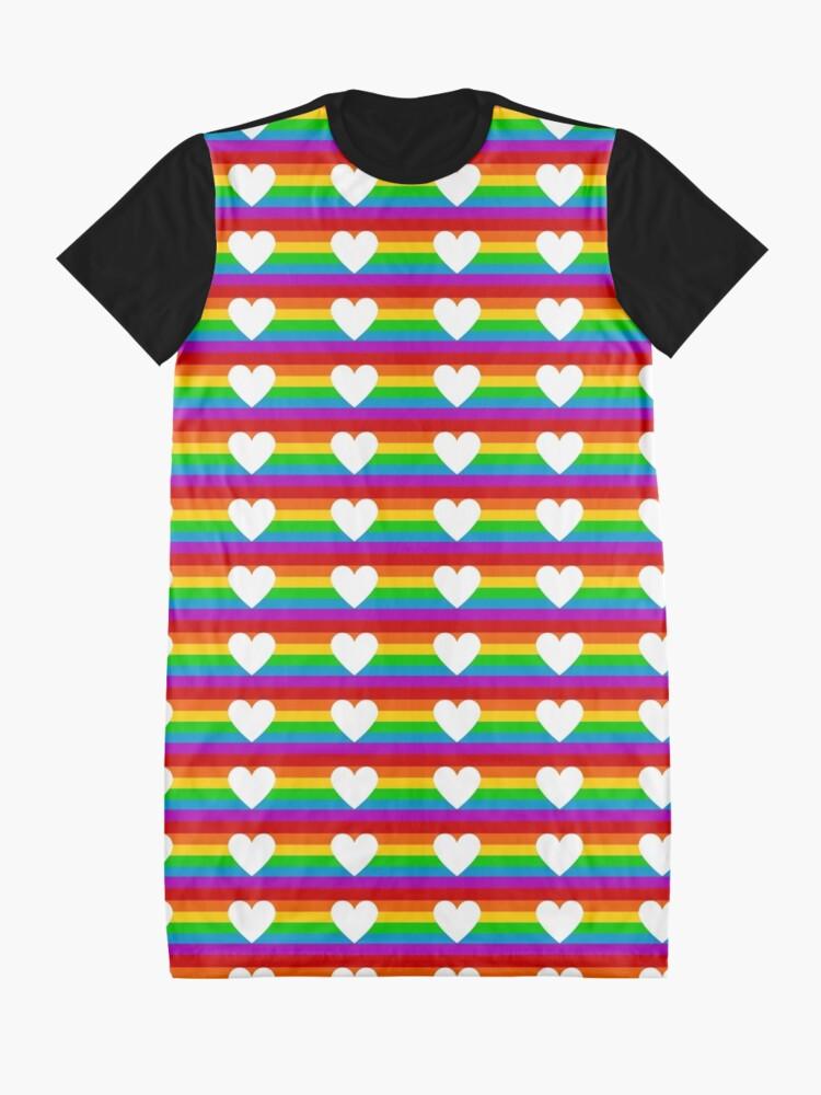 Alternate view of rainbow heart Graphic T-Shirt Dress