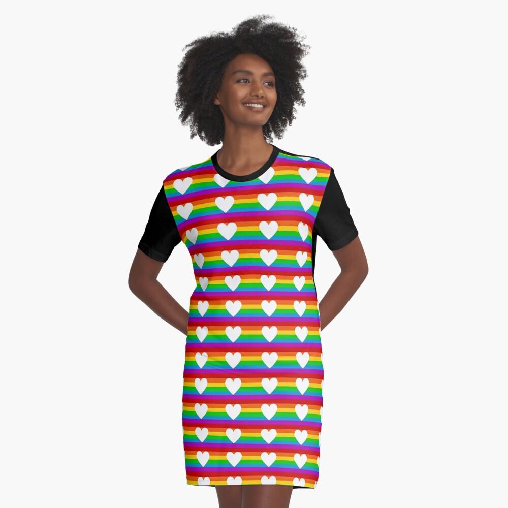 rainbow heart Graphic T-Shirt Dress