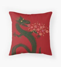 Dragon, Flower Breathing Throw Pillow