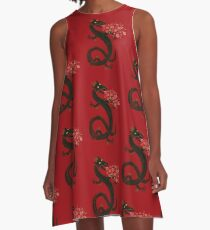 Dragon, Flower Breathing A-Line Dress