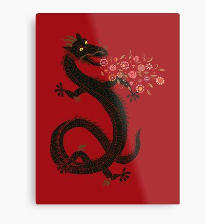 Dragon, Flower Breathing Metal Print