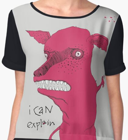 Bad Explanation Art Dog Women's Chiffon Top