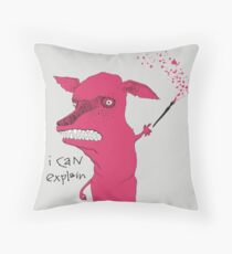 Bad Explanation Art Dog Throw Pillow
