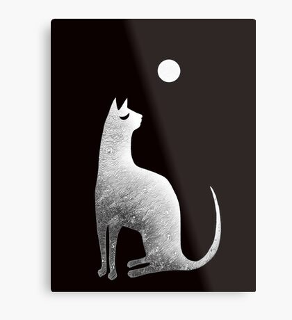 Ghost Cat and Moon in black and white Metal Print