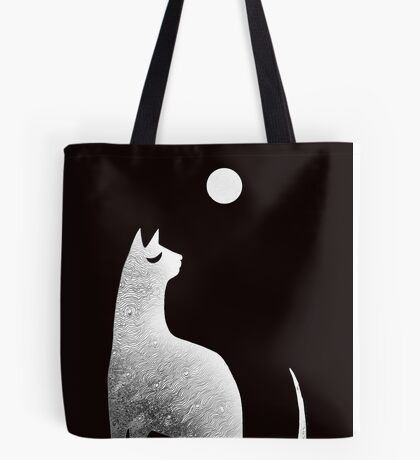 Ghost Cat and Moon in black and white Tote Bag