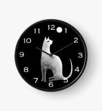 Ghost Cat and Moon in black and white Clock