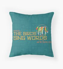 Tiki Room-Where the Birds Sing Words Throw Pillow