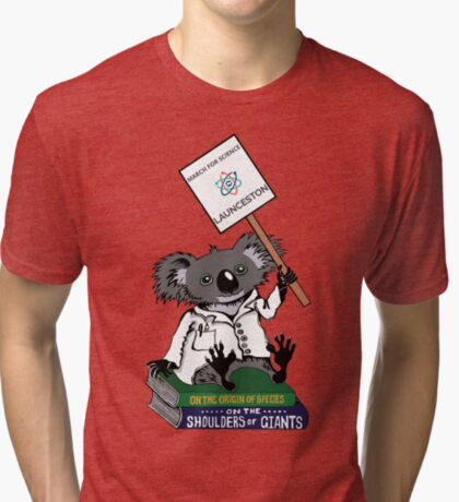 March for Science Launceston – Koala, full color Tri-blend T-Shirt