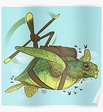 Fred the Giant Flying Laser-Eyed Turtle Poster