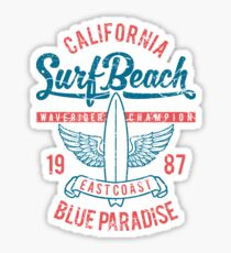 California Surf Beach Blue Paradise Sticker