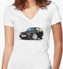VW Golf GTi (Mk2) Black Women's Fitted V-Neck T-Shirt