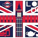 Vintage Union Jack UK Flag with London Decoration by thejoyker1986