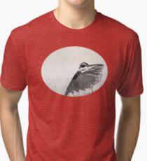 The Hidden Magpie Print Oriental Zen Minimalism - Sumie black ink bird feathers Tri-blend T-Shirt