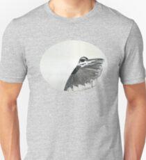 The Hidden Magpie Print Oriental Zen Minimalism - Sumie black ink bird feathers T-Shirt