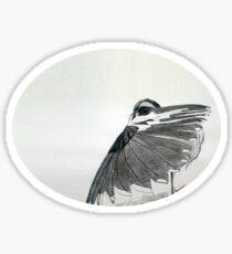 The Hidden Magpie Print Oriental Zen Minimalism - Sumie black ink bird feathers Sticker
