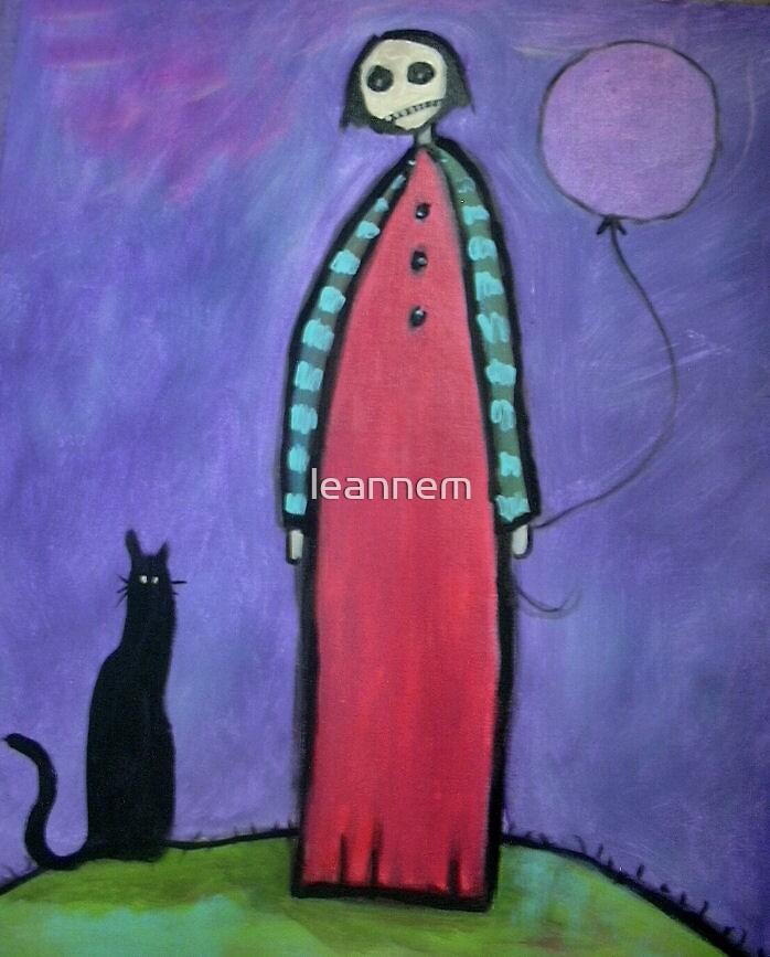 black cat, clown & balloon by leannem