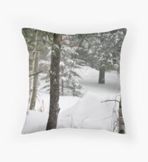 woods during a snowstorm Throw Pillow