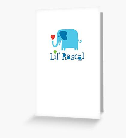 Elephant Lil Rascal blue Greeting Card