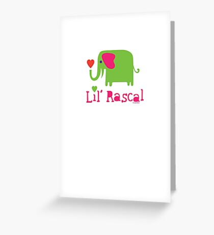 Elephant Lil Rascal green Greeting Card