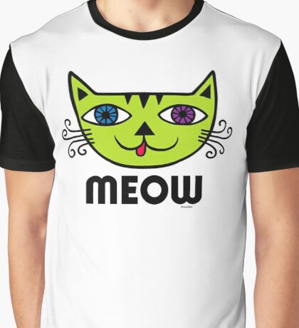 Meow Cat multi Graphic T-Shirt