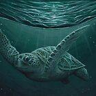 """Eclipse"" by Amber Marine ~ Acrylic sea turtle painting, art © 2015 by Amber Marine ~ Wildlife Artist ~ © 2004-2019"