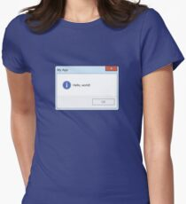 Hello World Message Box Womens Fitted T-Shirt