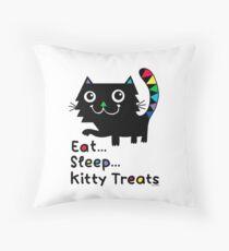 Eat, Sleep, Kitty Treats  Throw Pillow