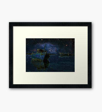 Boats Under Starry Night - Kuwait Framed Print