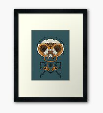 orange and brown skull and bone graffiti drawing with green background Framed Print