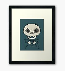 skull and bone graffiti drawing with green background Framed Print