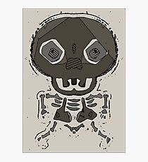 skull head and bone graffiti drawing with brown background Photographic Print