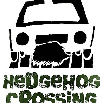 Hedgehog Crossing Stencil Design with Text by TheCartoonHouse