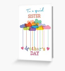 Sister, Cute Mother's Day Rainbow Clouds and Hearts Greeting Card