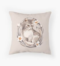 Kitten and flowers Throw Pillow