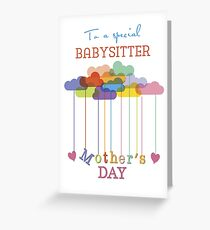 Babysitter, Cute Mother's Day Rainbow Clouds and Hearts Greeting Card