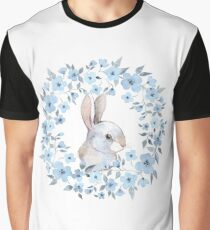Rabbit and floral wreath Graphic T-Shirt