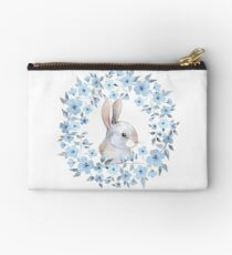 Rabbit and floral wreath Zipper Pouch