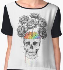 Skull with rainbow brains Women's Chiffon Top