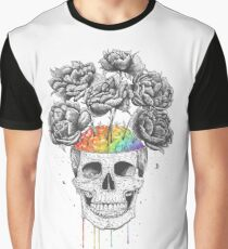 Skull with rainbow brains Graphic T-Shirt