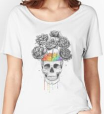 Camiseta ancha Skull with rainbow brains