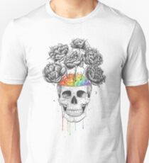 Skull with rainbow brains Unisex T-Shirt