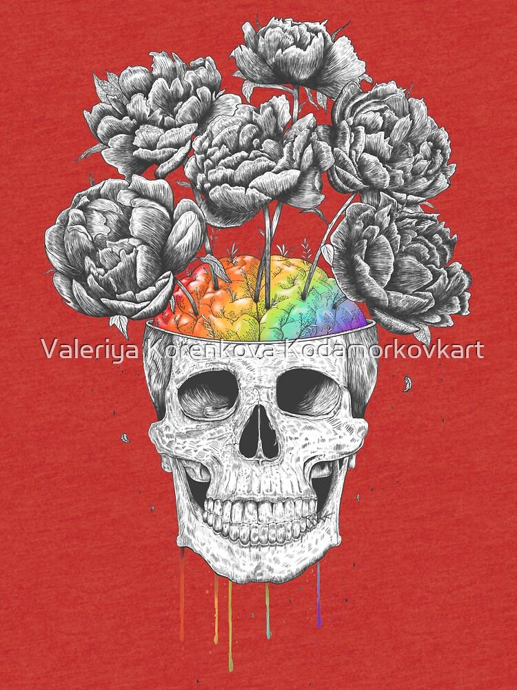 Skull with rainbow brains by kodamorkovkart