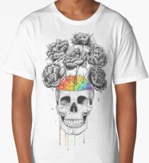 Skull with rainbow brains Long T-Shirt