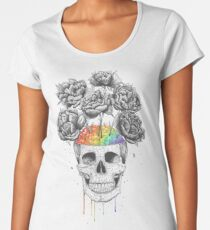 Skull with rainbow brains Women's Premium T-Shirt