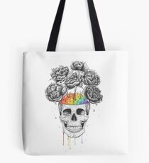 Skull with rainbow brains Tote Bag