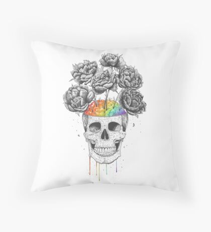 Skull with rainbow brains Throw Pillow