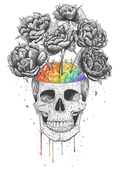 Quot Skull With Rainbow Brains Quot Poster By Kodamorkovkart