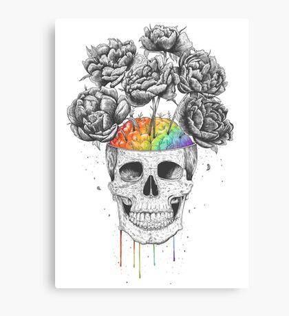 Skull with rainbow brains Canvas Print