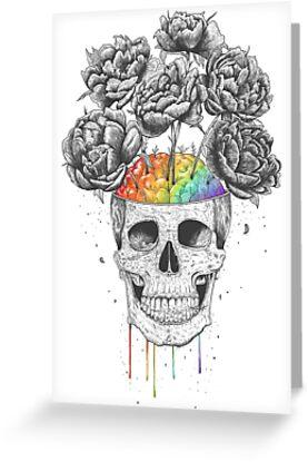 Skull with rainbow brains von Valeriya Korenkova Kodamorkovkart